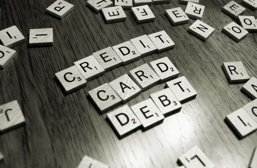 credit card debt scrabble letters