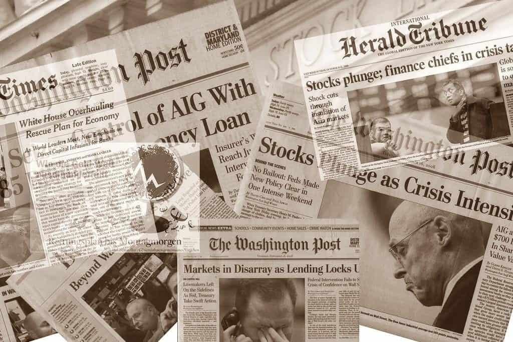 Newspaper headlines financial crisis 2008
